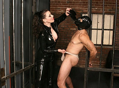 If you are with Anastasia Pierce, then you're sure to have the punishment that you need. Bad boys like this guy here are sure to get a good whipping - and Anastasia dressed in her killer leather catsuit will make sure that you get a real good BDSM action.video